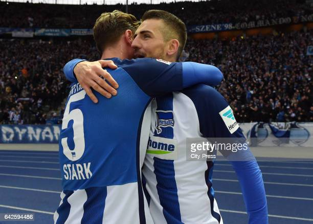 Niklas Stark and Vedad Ibisevic of Hertha BSC celebrate after scoring the 10 during the game between Hertha BSC and dem FC Bayern Muenchen on...