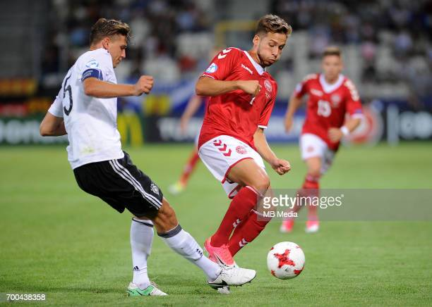 Niklas Stark Andrew Hjulsager during the UEFA European Under21 match between Germany and Denmark at Cracovia Stadium on June 21 2017 in Krakow Poland