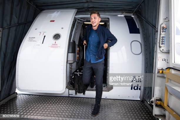 Niklas Stark departs the plane carrying the Germany U21 National Team at Frankfurt International Airport on July 1 2017 in Frankfurt am Main Germany