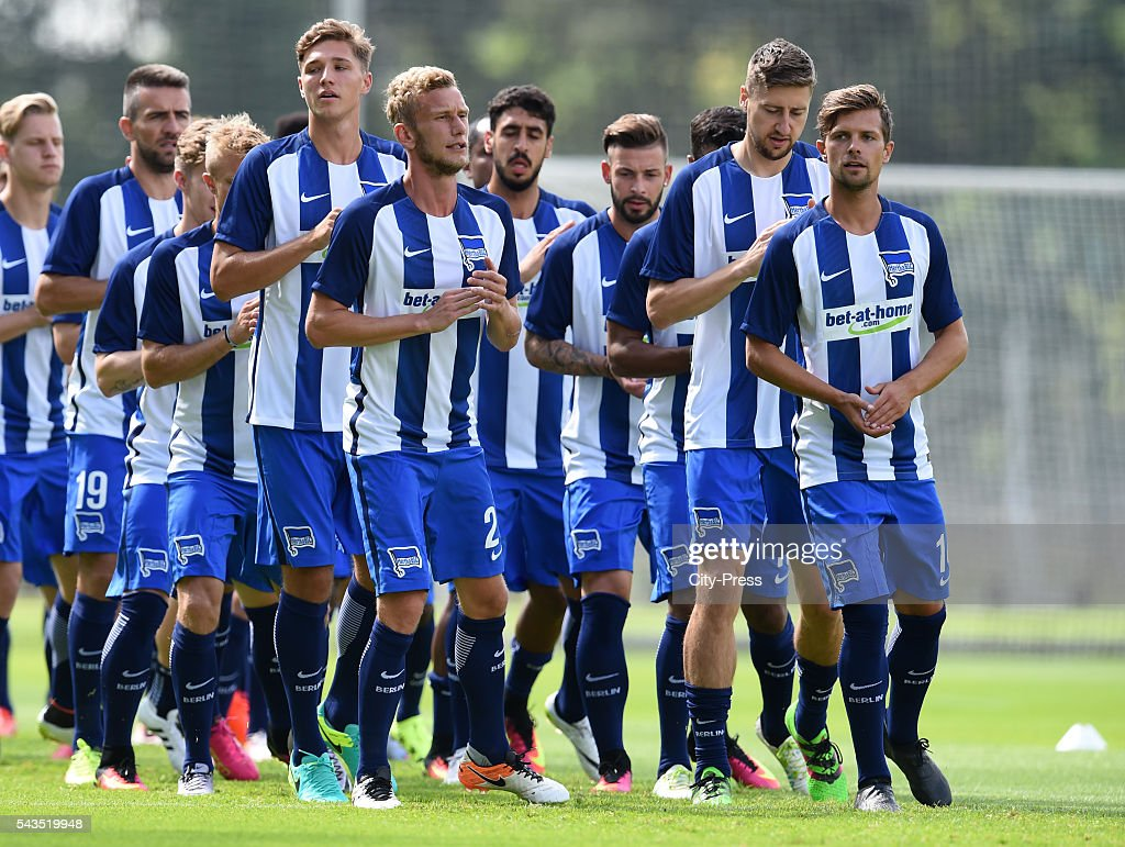 Niklas Stark, Fabian Lustenberger, Jens Hegeler and Valentin Stocker of Hertha BSC during the training on june 29, 2016 in Berlin, Germany.