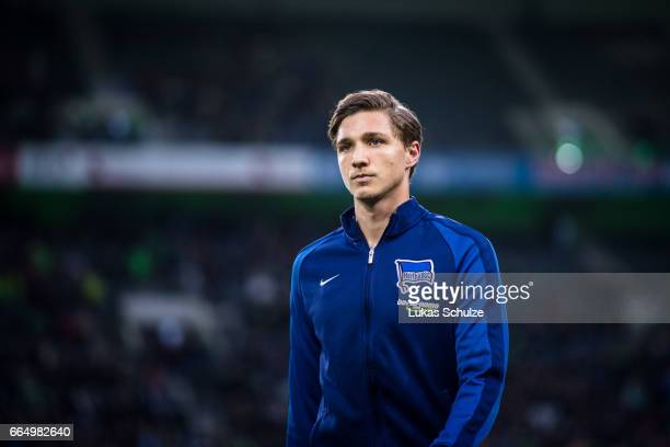 Niklas Stark is seen prior to the Bundesliga match between Borussia Moenchengladbach and Hertha BSC at BorussiaPark on April 5 2017 in...