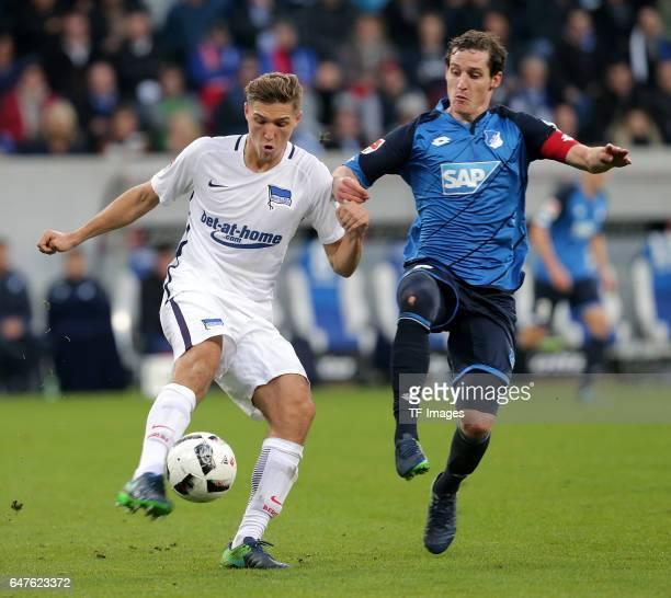 Niklas Stark of Berlin and Sebastian Rudy of Hoffenheim battle for the ball during the Bundesliga match between TSG 1899 Hoffenheim and Hertha BSC at...