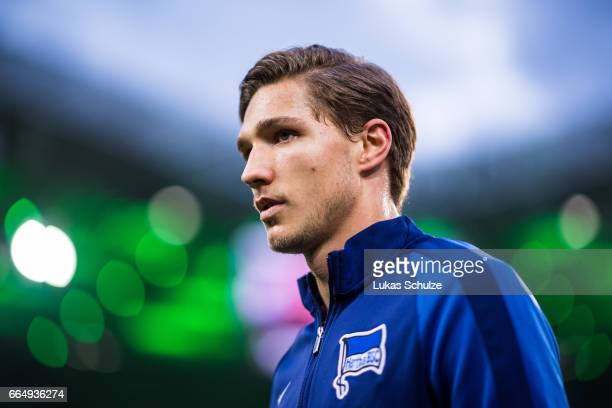 Niklas Stark of Berlin is seen prior to the Bundesliga match between Borussia Moenchengladbach and Hertha BSC at BorussiaPark on April 5 2017 in...