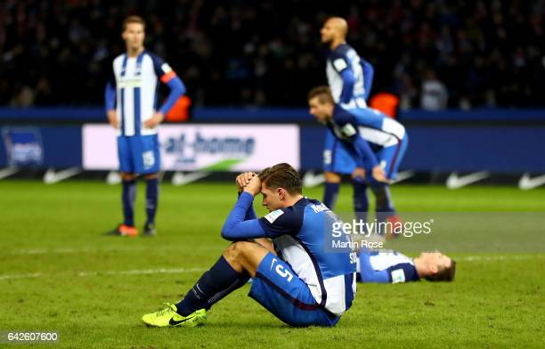 Niklas Stark of Berlin looks dejected after the Bundesliga match between Hertha BSC and Bayern Muenchen at Olympiastadion on February 18 2017 in...