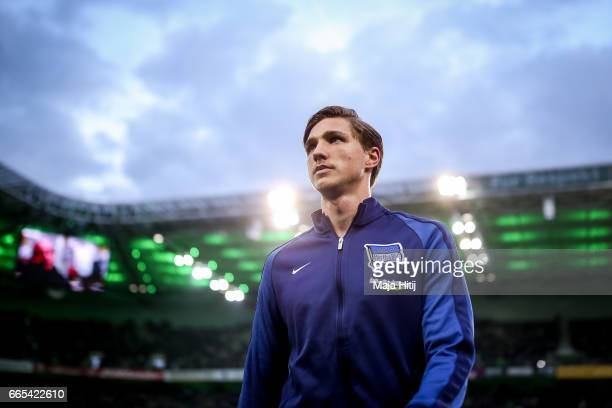 Niklas Stark of Berlin looks on prior the Bundesliga match between Borussia Moenchengladbach and Hertha BSC at BorussiaPark on April 5 2017 in...