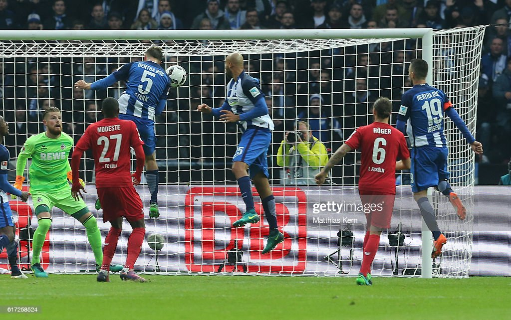 Niklas Stark (L) of Berlin scores the third goal during the Bundesliga match between Hertha BSC and 1. FC Koeln at Olympiastadion on October 22, 2016 in Berlin, Germany.