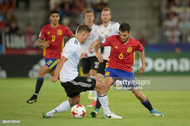 Niklas Stark of Germany and Dani Ceballos of Spain in action during the UEFA European Under21 Championship Final between Germany and Spain at Krakow...
