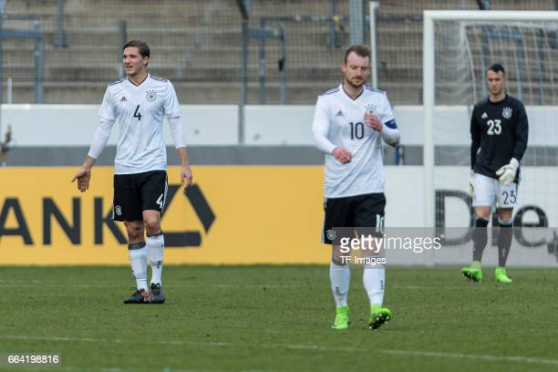 Niklas Stark of Germany Maximilian Arnold of Germany Goalkeeper Odisseas Vlachodimos of Germany looks dejected after the International Friendly match...