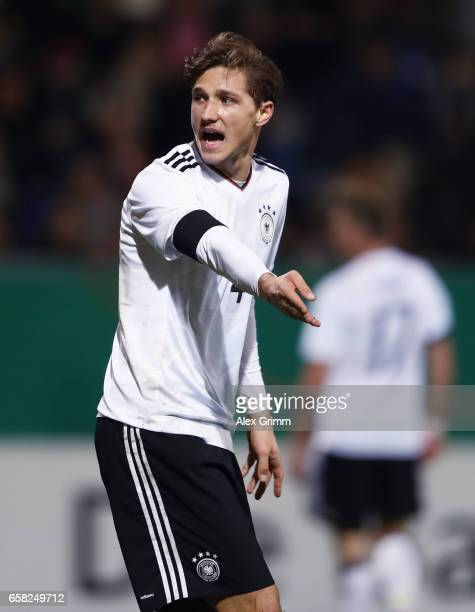 Niklas Stark of Germany reacts during the international friendly match between U21 Germany and U21 England at BRITAArena on March 24 2017 in...