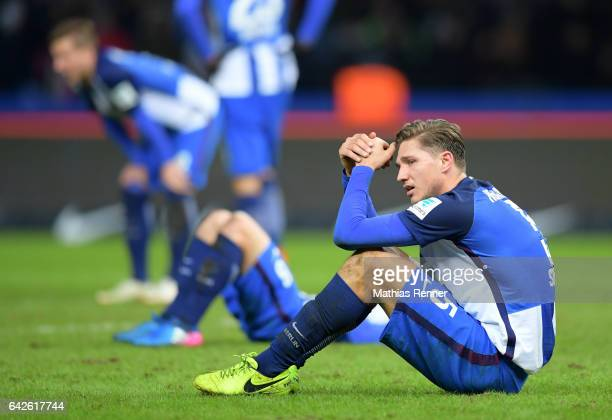 Niklas Stark of Hertha BSC after the game between Bayern Muenchen and Alba Berlin on february 18 2017 in Berlin Germany