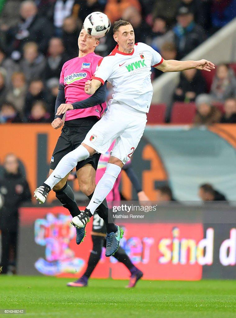 Niklas Stark of Hertha BSC and Dominik Kohr of FC Augsburg during the game between dem FC Augsburg and Hertha BSC on november 19, 2016 in Augsburg, Germany.