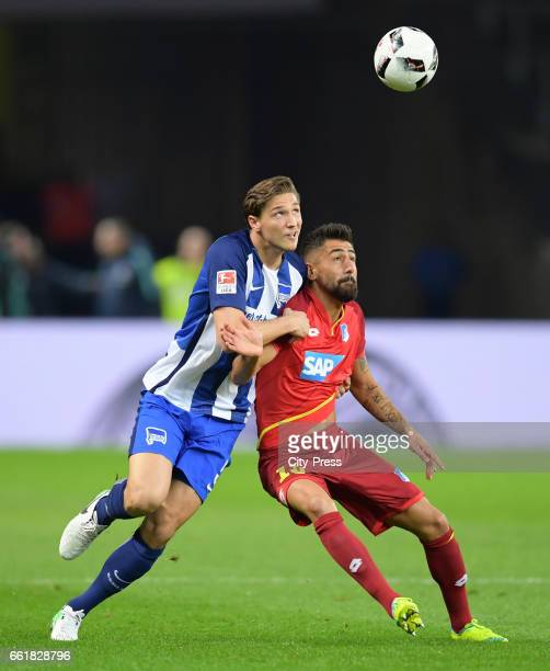 Niklas Stark of Hertha BSC and Kerem Demirbay of the TSG 1899 Hoffenheim during the game between Hertha BSC and TSG Hoffenheim on march 31 2017 in...