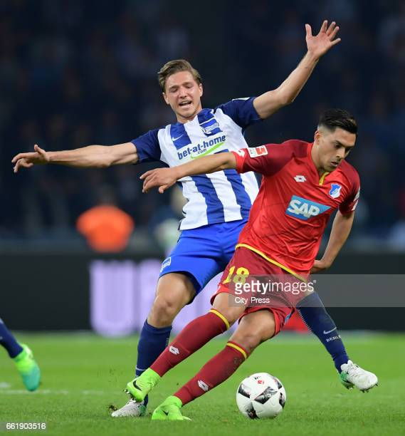 Niklas Stark of Hertha BSC and Nadiem Amiri of the TSG 1899 Hoffenheim during the game between Hertha BSC and TSG Hoffenheim on march 31 2017 in...