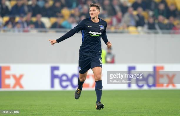 Niklas Stark of Hertha BSC during the Europa League group J game between Zorya Luhansk against Hertha BSC on October 19 2017 in Lwiw Ukraine