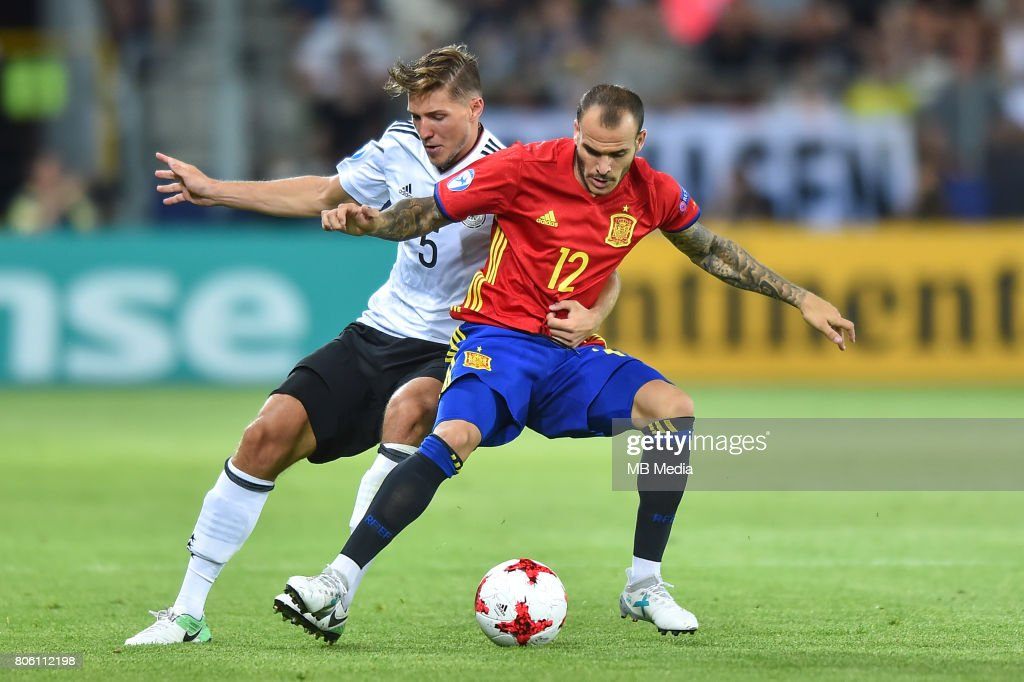 Niklas Stark Sandro Ramirez during the UEFA European Under-21 final match between Germany and Spain on June 30, 2017 in Krakow, Poland.