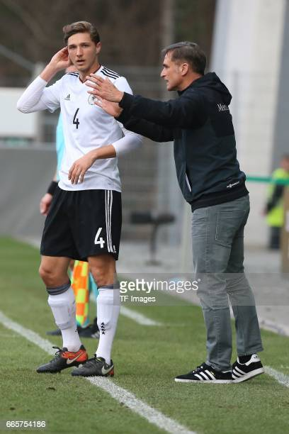 Niklas Stark speak with Head coach Stefan Kuntz of Germany during the International Friendly match between Germany U21 and Portugal U21 at...