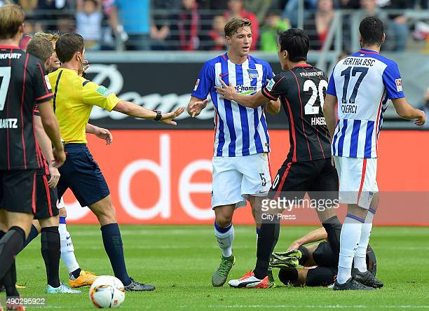 Niklas Starke of Hertha BSC and Makoto Hasebe of Eintracht Frankfurt during the game between Eintracht Frankfurt and Hertha BSC on September 27 2015...