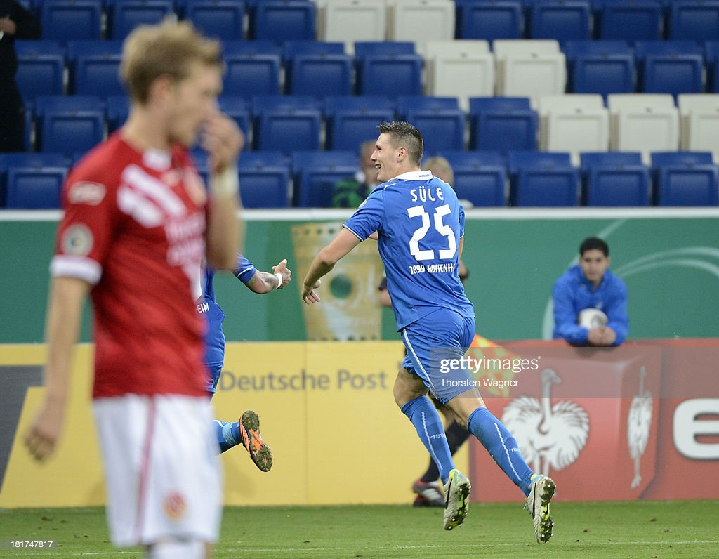 Niklas Suehle of Hoffenheim celebrates after scoring his teams opening goal during the DFB Cup second round match between TSG 1899 Hoffenheim and FC Energie Cottbus at Wirsol Rhein-Neckar-Arena on September 24, 2013 in Sinsheim, Germany.