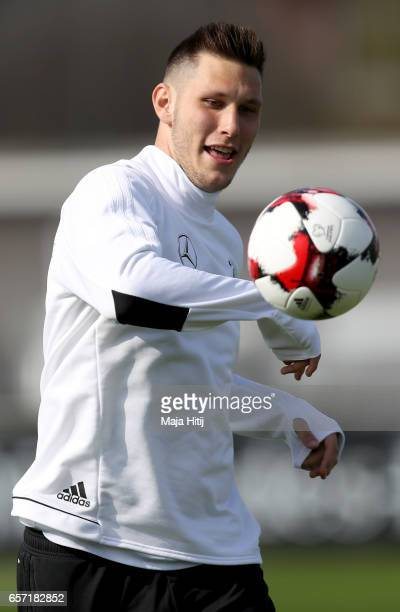 Niklas Suele looks to the ball during a Germany training session on March 24 2017 in Kamen Germany