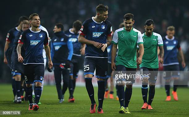 Niklas Suele of Hoffenheim and Kevin Volland of Hoffenheim are seen after the Bundesliga match between Werder Bremen and 1899 Hoffenheim at...
