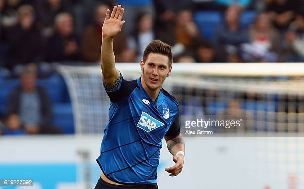 Niklas Suele of Hoffenheim celebrates his team's first goal during the Bundesliga match between TSG 1899 Hoffenheim and Hertha BSC at Wirsol...
