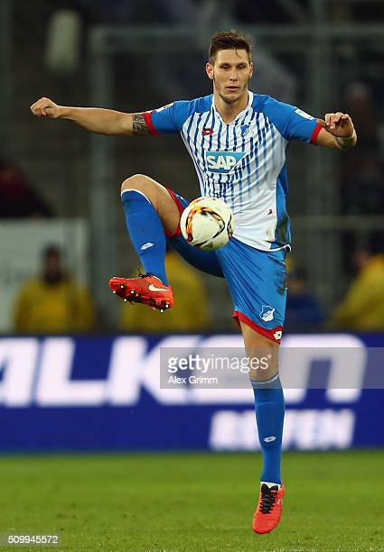 Niklas Suele of Hoffenheim controles the ball during the Bundesliga match between 1899 Hoffenheim and SV Darmstadt 98 at Wirsol RheinNeckarArena on...