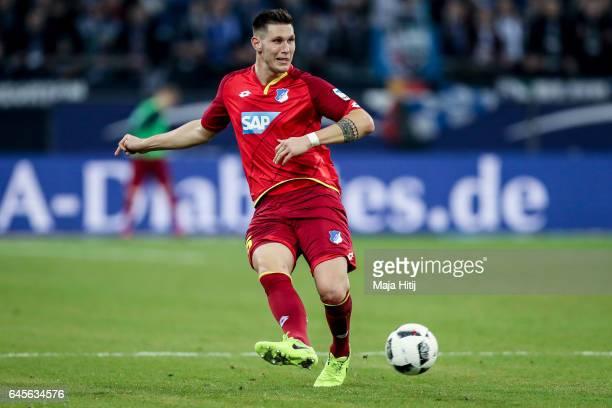Niklas Suele of Hoffenheim controls the ball during the Bundesliga match between FC Schalke 04 and TSG 1899 Hoffenheim at VeltinsArena on February 26...