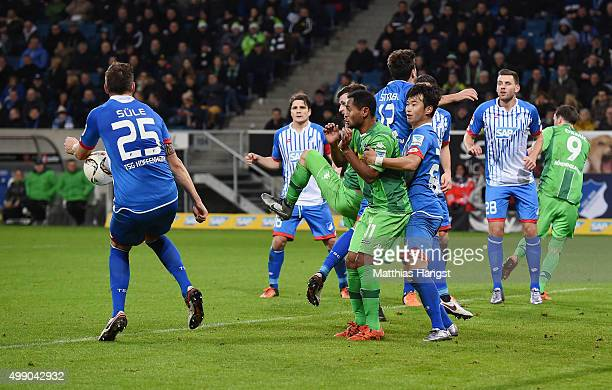 Niklas Suele of Hoffenheim plays the ball with the hand during the Bundesliga match between 1899 Hoffenheim and Borussia Moenchengladbach at Wirsol...