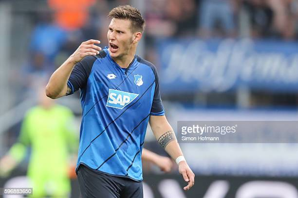 Niklas Suele of Hoffenheim reacts during the Bundesliga match between TSG 1899 Hoffenheim and RB Leipzig at Wirsol RheinNeckarArena on August 28 2016...