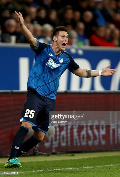 Niklas Suele of Hoffenheim reacts during the Bundesliga match between TSG 1899 Hoffenheim and Hamburger SV at Wirsol RheinNeckarArena on November 20...