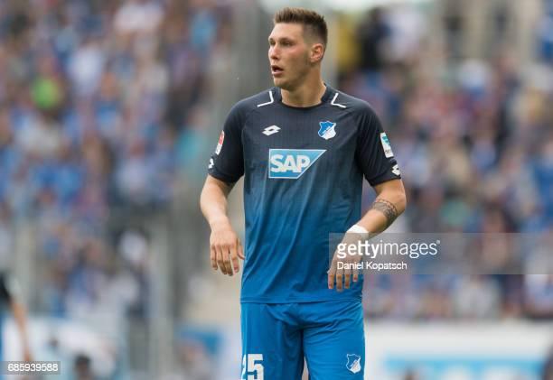 Niklas Suele of Hoffenheim reacts during the Bundesliga match between TSG 1899 Hoffenheim and FC Augsburg at Wirsol RheinNeckarArena on May 20 2017...