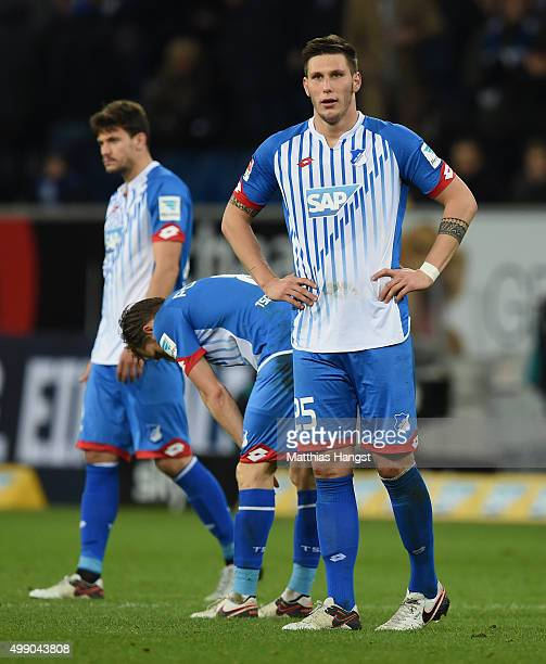 Niklas Suele of Hoffenheim shows his disappointment after the Bundesliga match between 1899 Hoffenheim and Borussia Moenchengladbach at Wirsol...