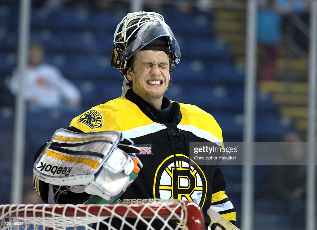 Niklas Svedberg #1 of the Providence Bruins grimaces during an American Hockey League game against the Bridgeport Sound Tigers on January 31, 2013 at the Webster Bank Arena at Harbor Yard in Bridgeport, Connecticut.