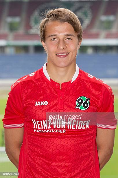 Niklas Teichgraeber poses during the team presentation of Hannover 96 at HDIArena on July 13 2015 in Hanover Germany