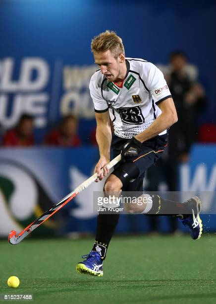 Niklas Wellen of Germany controls the ball during day 4 of the FIH Hockey World League Men's Semi Finals Pool B match between Belgium and Germany at...