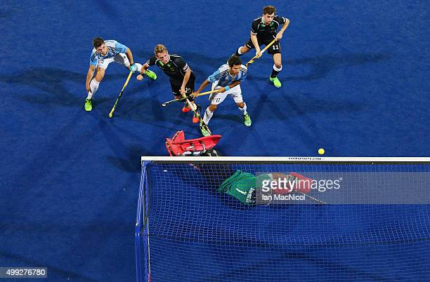 Niklas Wellen of Germany scores during the match between Argentina and Germany on day four of The Hero Hockey League World Final at the Sardar...