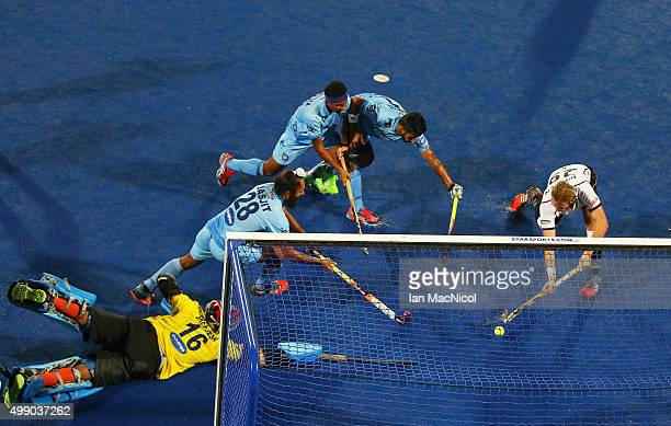 Niklas Wellen of Germany scores during the match between Germany and India on day two of The Hero Hockey League World Final at the Sardar Vallabh...