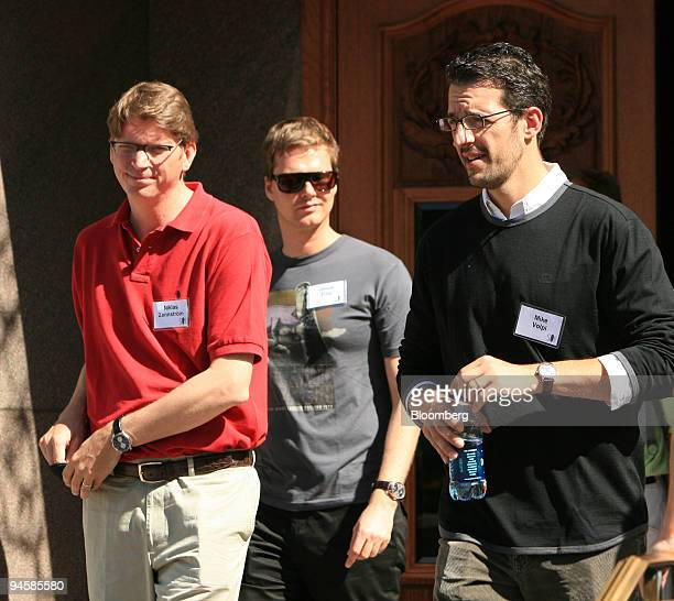 Niklas Zennstrom Skype Technologies chief executive officer and founder left Janus Friis Joost Enterprises Corp center and Mike Volpi Joost...