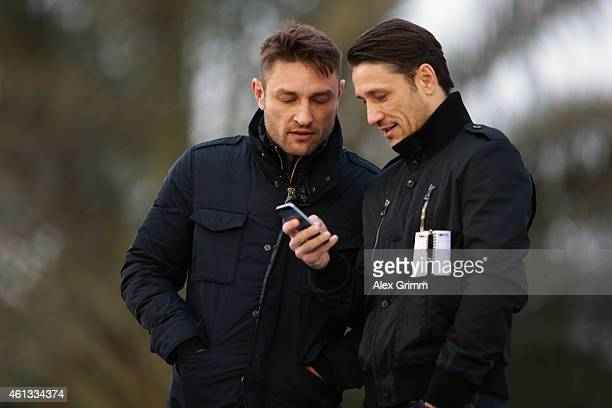 Niko and Robert Kovac attend a training session during day 3 of the Bayern Muenchen training camp at ASPIRE Academy for Sports Excellence on January...