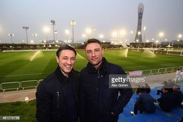 Niko and Robert Kovac pose during day 2 of the Bayern Muenchen training camp at ASPIRE Academy for Sports Excellence on January 10 2015 in Doha Qatar