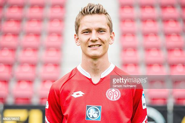 Niko Bungert poses during the 1 FSV Mainz 05 Team Presentation at Coface Arena on July 12 2015 in Mainz Germany