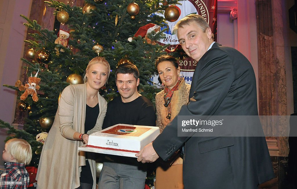 Niko Fechter, Ciro de Luca, Maya Hakvoort and Alexander Betanishvili attend the Christmas ball for children Energy For Life - Heat For Children's Hearts at Hofburg Vienna on December 11, 2012 in Vienna, Austria.