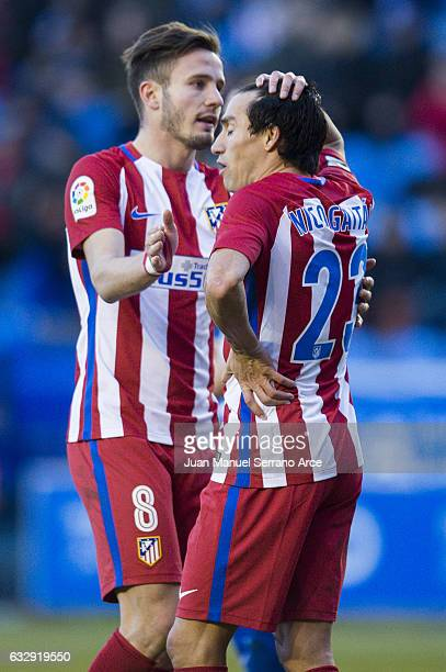 Niko Gaitan and Saul Niguiz of Atletico Madrid reacts during the La Liga match between Deportivo Alaves and Atletico Madrid at Mendizorroza stadium...