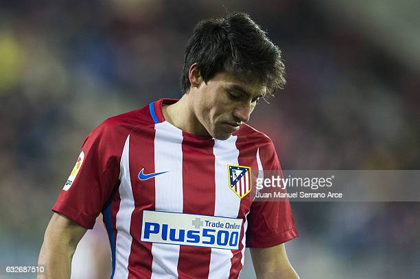 Niko Gaitan of Atletico Madrid reacts during the Copa del Rey Quarter Final 2nd Leg match between SD Eibar and Atletico Madrid at Ipurua Municipal...