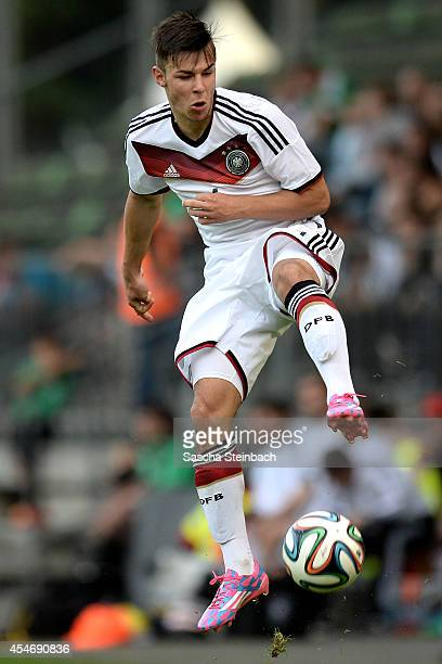 Niko Kijewski of Germany jumps for the ball during the international friendly match between U19 Germany and U19 Netherlands at Sportpark Hoehenberg...