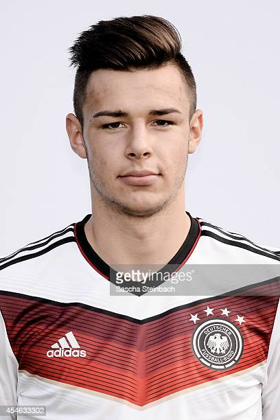 Niko Kijewski poses during the U19 Germany team presentation at Sportpark Hoehenberg on September 4 2014 in Cologne Germany
