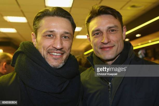 Niko Kovac and brother Robert Kovac pose during the Club of Former National Players Meeting at Signal Iduna Park on March 22 2017 in Dortmund Germany