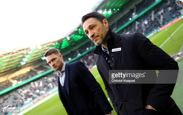 Niko Kovac head coach of Frankfurt looks on before the DFB Cup semi final match between Borussia Moenchengladbach and Eintracht Frankfurt at...