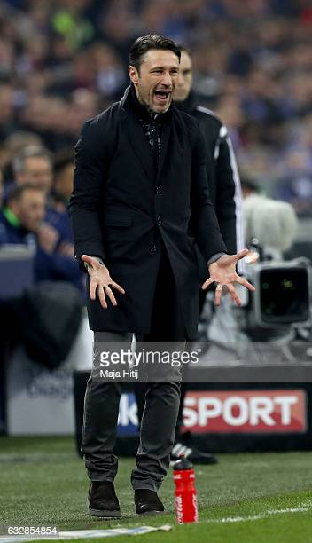 Niko Kovac head coach of Frankfurt reacts during the Bundesliga match between FC Schalke 04 and Eintracht Frankfurt at VeltinsArena on January 27...