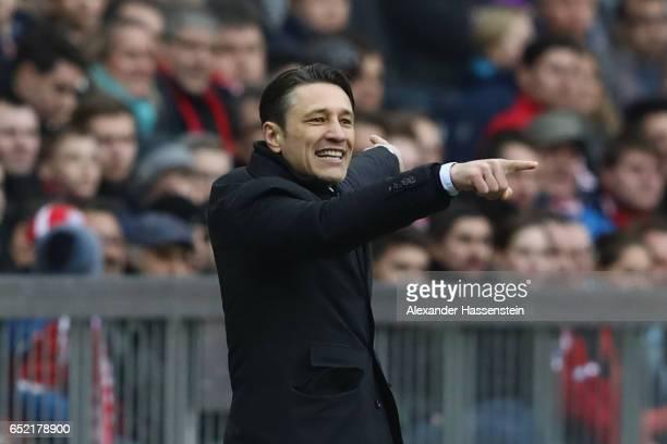 Niko Kovac head coach of Frankfurtreacts during the Bundesliga match between Bayern Muenchen and Eintracht Frankfurt at Allianz Arena on March 11...